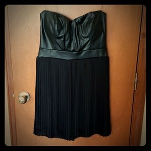 Faux leather pleated dress